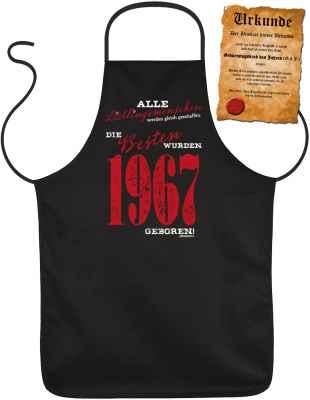 Schürze mit Urkunde: Alle Lieblingsmenschen werden gleich geschaffen die Besten wurden 1967 geboren