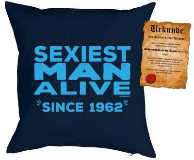 Kissenbezug mit Urkunde: Sexiest Man Alive since 1962