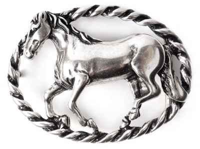 Gürtelschliesse Pferd silber 40 mm