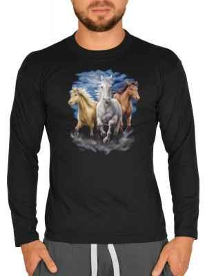 Langarmshirt Herren: drei Pferde