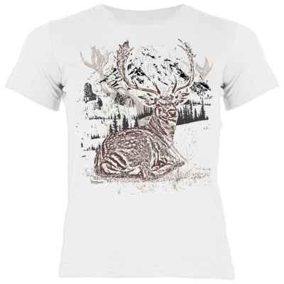 Trachten Shirt Mädchen: Hirsch liegend