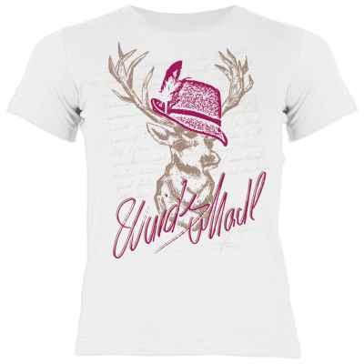Trachten Kinder T-Shirt: Wuids Madl Hirsch